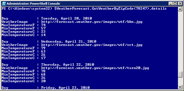 Weather WebService in Powershell – Tom Resing's Collaboration Blog