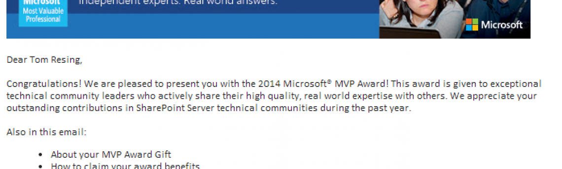 Renewed as SharePoint MVP