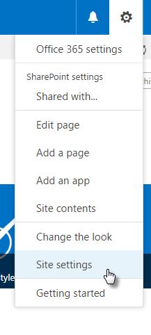 Office 365 Settings Drop Down Menu