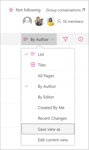 Screenshot of the view drop down in SharePoint