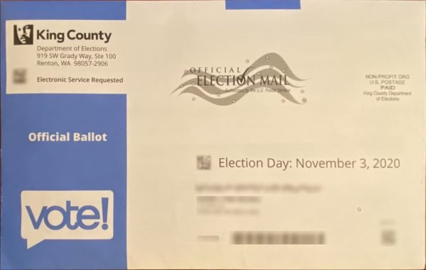 A picture of an official ballot envelope from King County Washington